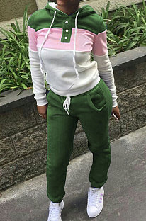 Green Casual  Preppy Thicken Spliced Long Sleeve Hoodie Tops Jogger Pants Sport Sets W8359-4