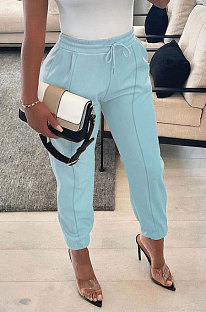 Light Blue Luxe Simple Pu Leather Casual Pencil Pants DN8642-2