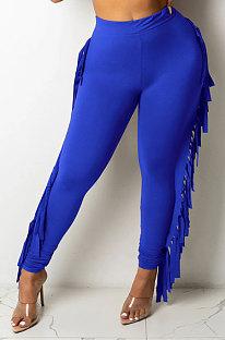 Bright Blue Women Fashion Solid Color Sexy Tassel Mid Waist Long Pants WMZ2683-4