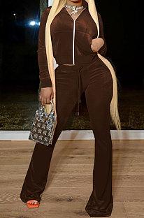 Brown Women Autumn Winter Pleuche Hoodie Top Zipper Back Hot Drilling Letters Pure Color Casual Pants Sets LD81062-2