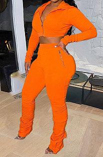 Orange Women Pure Color Cardigan Hoodie Top Zipper Dew Waist Pants Sets LD81071-3