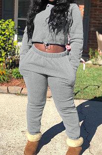 Grey Modest New Cotton Hoody Tops Jogger Pants Plain Color Sets DN8643-5