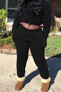 Black Modest New Cotton Hoody Tops Jogger Pants Plain Color Sets DN8643-4