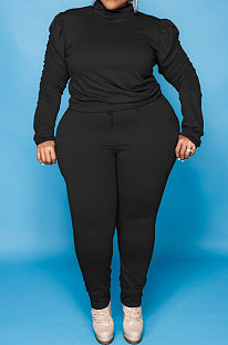 Black Big Yards Fat Women's Long Sleeve High Neck Tops Skinny Pants Solid Color Sets U7118-2