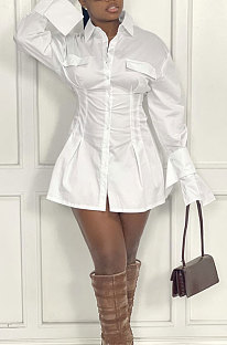 White Fashion Preppy Pure Color Horn Sleeve Single-Breasted Collect Waist Shirts Dress WY6861-3