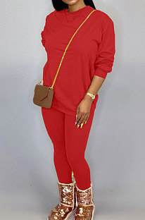 Red Women Long Sleeve Round Collar Pure Color Pants Sets LD86311-1