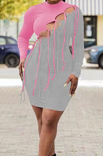 Pink Grey Nigh Club Sexy Spliced Bandage Tassel Long Sleeve High Neck Bodycon Hip Dress HH10010-3