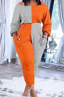 Orange Grey Big Yards Fat Women's Spliced Long Sleeve Oblique Shoulder Collect Waist Hem Ruffle Jumpsuits SXS6073-2