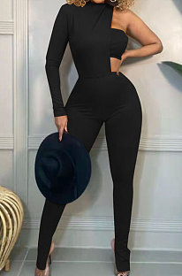 Black Fashion Sexy Ribber Pure Color  Strapless&One Sleeve Tops Slit Skinny Pants Three Piece HH10011-1