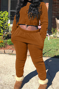 Coffee Modest New Cotton Hoody Tops Jogger Pants Plain Color Sets DN8643-2