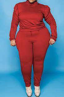 Red Big Yards Fat Women's Long Sleeve High Neck Tops Skinny Pants Solid Color Sets U7118-5