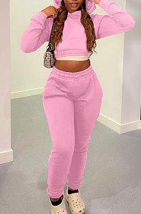Pink Casual Modest Long Sleeve Hoodie Tops Back Eyelet Bandage Jogger Pants Solid Color Sets LML278-9