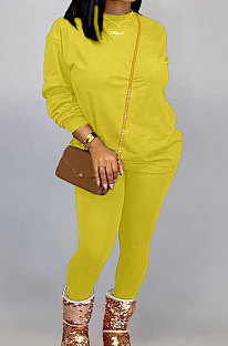 Yellow Women Long Sleeve Round Collar Pure Color Pants Sets LD86311-2