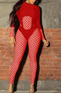 Red Women Contrast Color Positioning Printing High Waist Bodycon Jumpsuits Q967-1