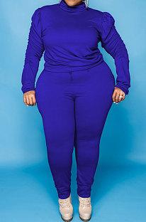 Blue Big Yards Fat Women's Long Sleeve High Neck Tops Skinny Pants Solid Color Sets U7118-1