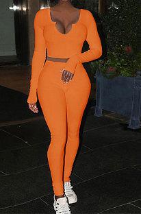 Orange Women Ribber V Collar Long Sleeve Solid Color Bodycon Jumpsuits Pants Sets Q979-2
