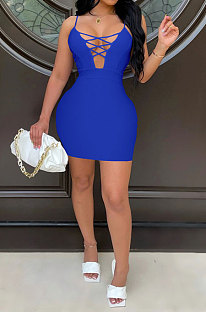 Bright Blue Euramerican Backless Sexy Condole Belt Tied Hollow Out Mid Waist Tight Mini Dress WMZ2681-6