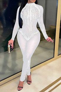 White Women Sexy Bling Bling Mesh Spaghetti Mid Waist Bodycon Jumpsuits Q974-2