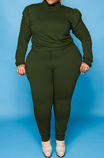 Army Green Big Yards Fat Women's Long Sleeve High Neck Tops Skinny Pants Solid Color Sets U7118-4