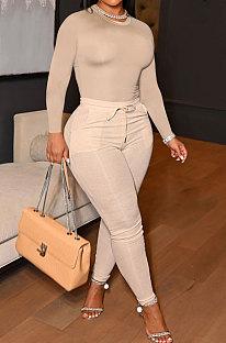 Kahki Simple New Cotton Blend Long Sleeve Round Neck Tops Pencil Pants Plain Color Sets MLL178-3