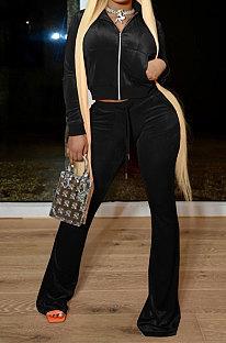 Black Women Autumn Winter Pleuche Hoodie Top Zipper Back Hot Drilling Letters Pure Color Casual Pants Sets LD81062-1