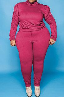 Rose Red Big Yards Fat Women's Long Sleeve High Neck Tops Skinny Pants Solid Color Sets U7118-3