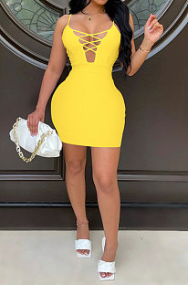 Yellow Euramerican Backless Sexy Condole Belt Tied Hollow Out Mid Waist Tight Mini Dress WMZ2681-4