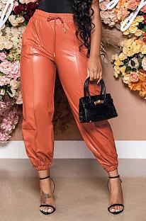 Orange Luxe Simple Pu Leather Casual Pencil Pants DN8642-5