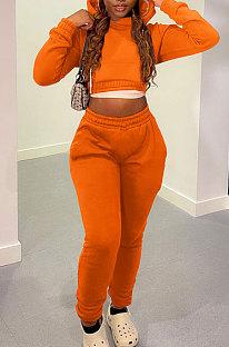 Orange Casual Modest Long Sleeve Hoodie Tops Back Eyelet Bandage Jogger Pants Solid Color Sets LML278-4