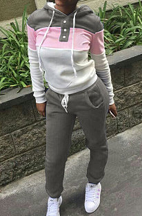 Grey Casual  Preppy Thicken Spliced Long Sleeve Hoodie Tops Jogger Pants Sport Sets W8359-1