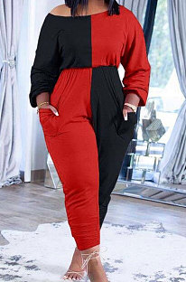 Black Red Big Yards Fat Women's Spliced Long Sleeve Oblique Shoulder Collect Waist Hem Ruffle Jumpsuits SXS6073-1