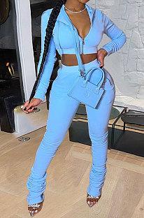 Blue Women Pure Color Cardigan Hoodie Top Zipper Dew Waist Pants Sets LD81071-5