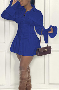 Blue Fashion Preppy Pure Color Horn Sleeve Single-Breasted Collect Waist Shirts Dress WY6861-1