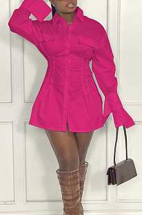 Rose Red Fashion Preppy Pure Color Horn Sleeve Single-Breasted Collect Waist Shirts Dress WY6861-5