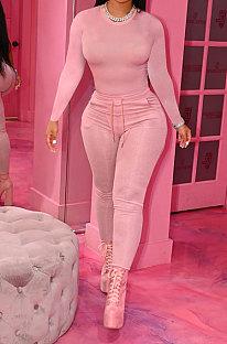 Pink Simple New Cotton Blend Long Sleeve Round Neck Tops Pencil Pants Plain Color Sets MLL178-2
