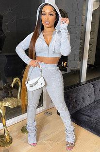Gray Women Pure Color Cardigan Hoodie Top Zipper Dew Waist Pants Sets LD81071-1