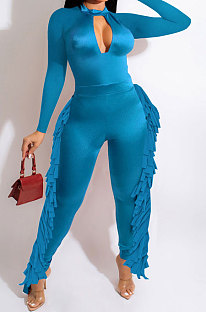 Peacock Blue Luxe Fashion Pure Color Long Sleeve Zip Back Slim Fitting Tassel Jumpsuits SZS8189-3