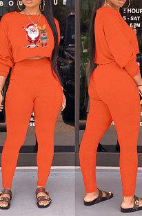 Orange Fashion Modest Christmas Long Sleeve Round Hoodie Tops Skinny Pants Sets WY66221-1