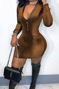 Coffee New Luxe Velvet Long Sleeve Zip Front Collect Waist Solid Color Hip Dress YMM9088-5