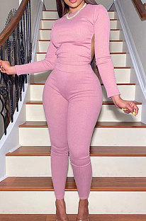 Pink Casual Sports Cotton Blend Long Sleeve O Neck Backless Tops Skinny Pants Sets YMT6250-2