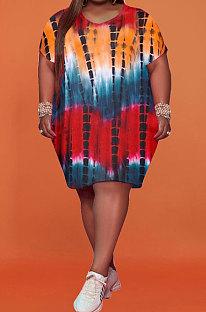 Red Women Printing Big Size Short Sleeve Round Collar Milk Silk Plus Mini Dress FA7200-1