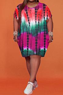 Violet Women Printing Big Size Short Sleeve Round Collar Milk Silk Plus Mini Dress FA7200-3