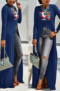Blue Basics Christmas Long Sleeve Round Neck Split Hem Longline Top WY61841-3