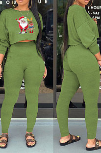 Green Fashion Modest Christmas Long Sleeve Round Hoodie Tops Skinny Pants Sets WY66221-4