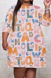 Light Pink Fat Women's Letter Printed Long Sleeve Round Neck Shift Dress YMM9087