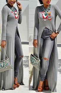 Grey Basics Christmas Long Sleeve Round Neck Split Hem Longline Top WY61841-1