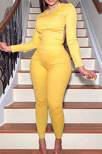 Yellow Casual Sports Cotton Blend Long Sleeve O Neck Backless Tops Skinny Pants Sets YMT6250-1