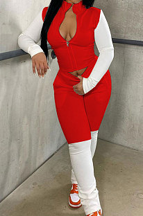 Red Preppy Newest Spliced Long Sleeve Zipper Tops Trousers Casual Sets YMM9090-1