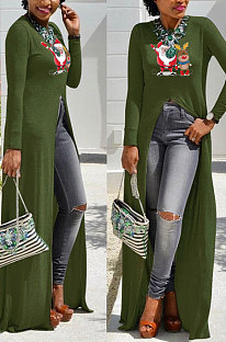 Army Green Basics Christmas Long Sleeve Round Neck Split Hem Longline Top WY61841-4