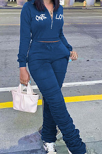 Blue Wholesale Women's New Letter Embroidery Long Sleeve Zipper Tops High Waist Ruffle Pants Sets YMM9089-3